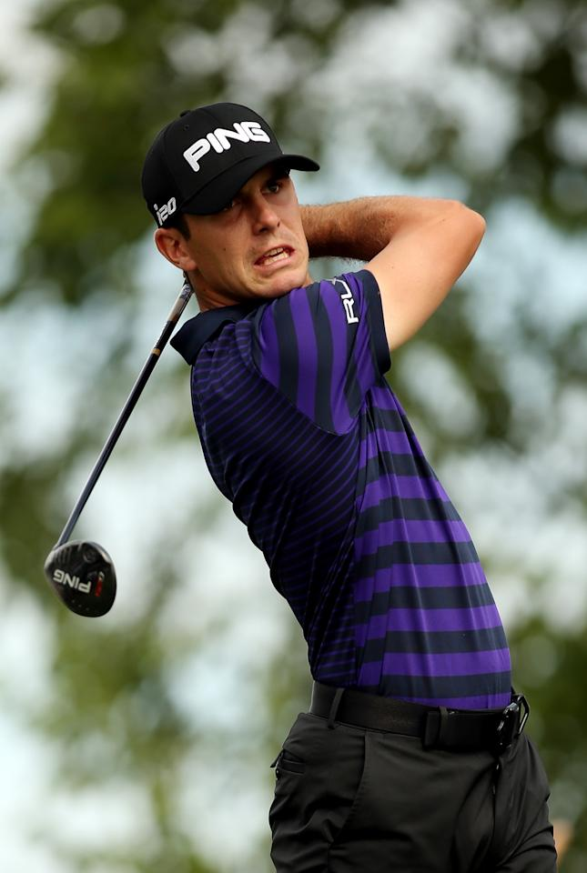 JERSEY CITY, NJ - AUGUST 23: Billy Horschel of the United States watches his tee shot on the 17th hole during a continuation of the first round on the second day of The Barclays at Liberty National Golf Club on August 23, 2013 in Jersey City, New Jersey. (Photo by Darren Carroll/Getty Images)