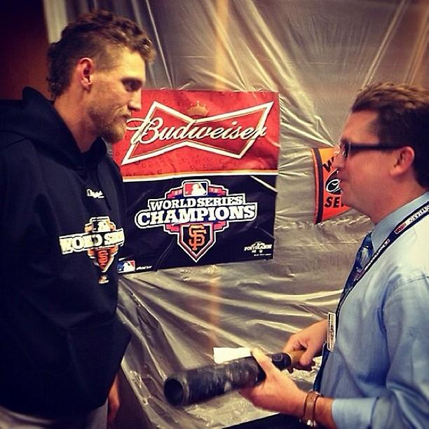 Hunter Pence donates a bat to the Hall of Fame. Via @KevinKaduk