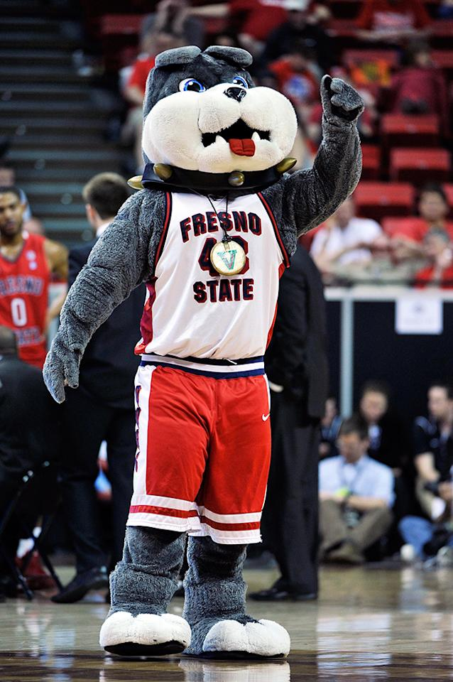 The Fresno State Bulldogs mascot Victor E. Bulldog  appears on court during a quarterfinal game of the Reese's Mountain West Conference Basketball tournament against the Colorado State Rams at the Thomas & Mack Center on March 13, 2013 in Las Vegas, Nevada. CSU won 67-61.  (Photo by Jeff Bottari/Getty Images)