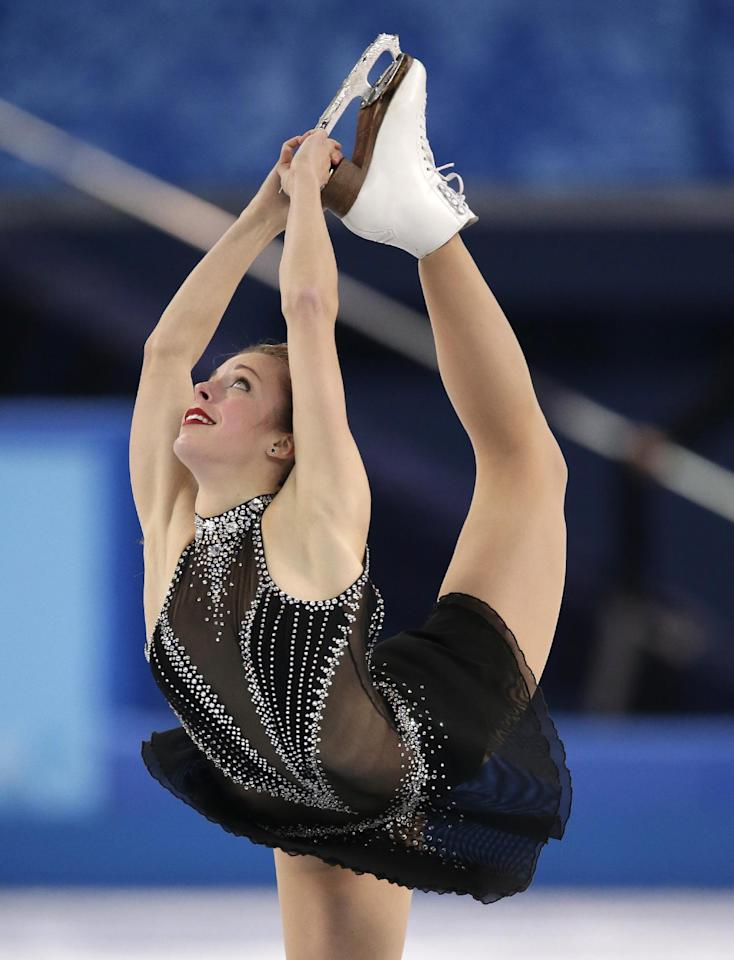Ashley Wagner of the United States competes in the women's short program figure skating competition at the Iceberg Skating Palace during the 2014 Winter Olympics, Wednesday, Feb. 19, 2014, in Sochi, Russia. (AP Photo/Bernat Armangue)