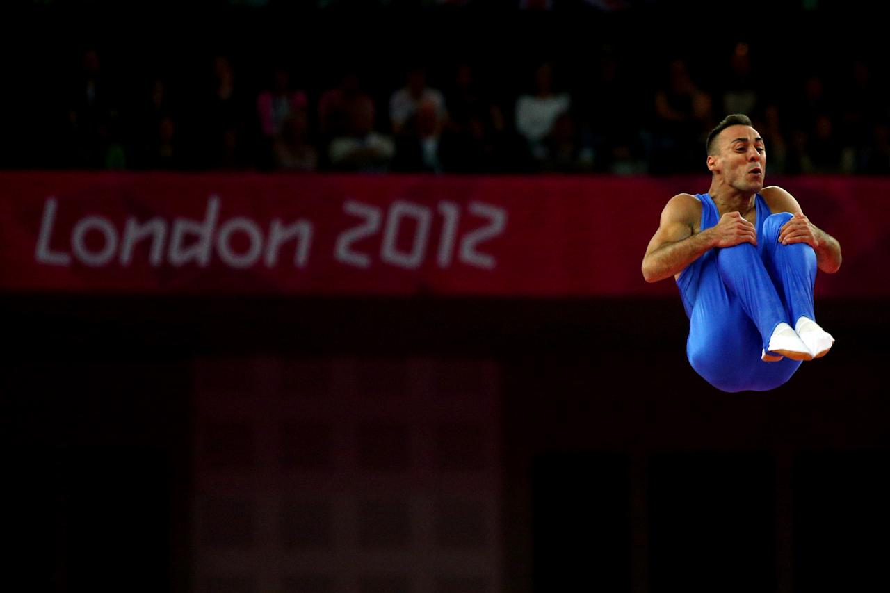 LONDON, ENGLAND - AUGUST 03:  Flavio Cannone of Italy competes on the Men's Trampoline during Day 7 of the London 2012 Olympic Games at North Greenwich Arena on August 3, 2012 in London, England.  (Photo by Cameron Spencer/Getty Images)