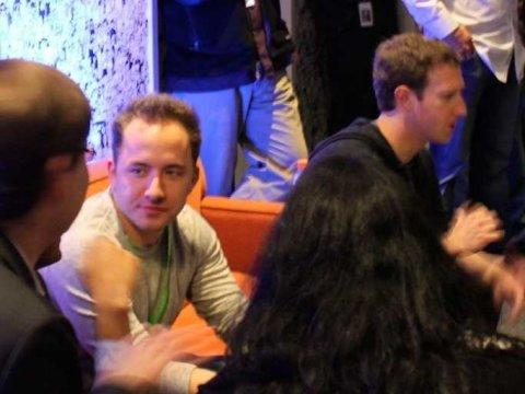 Dropbox CEO Drew Houston with Mark Zuckerberg at the Facebook Home event.
