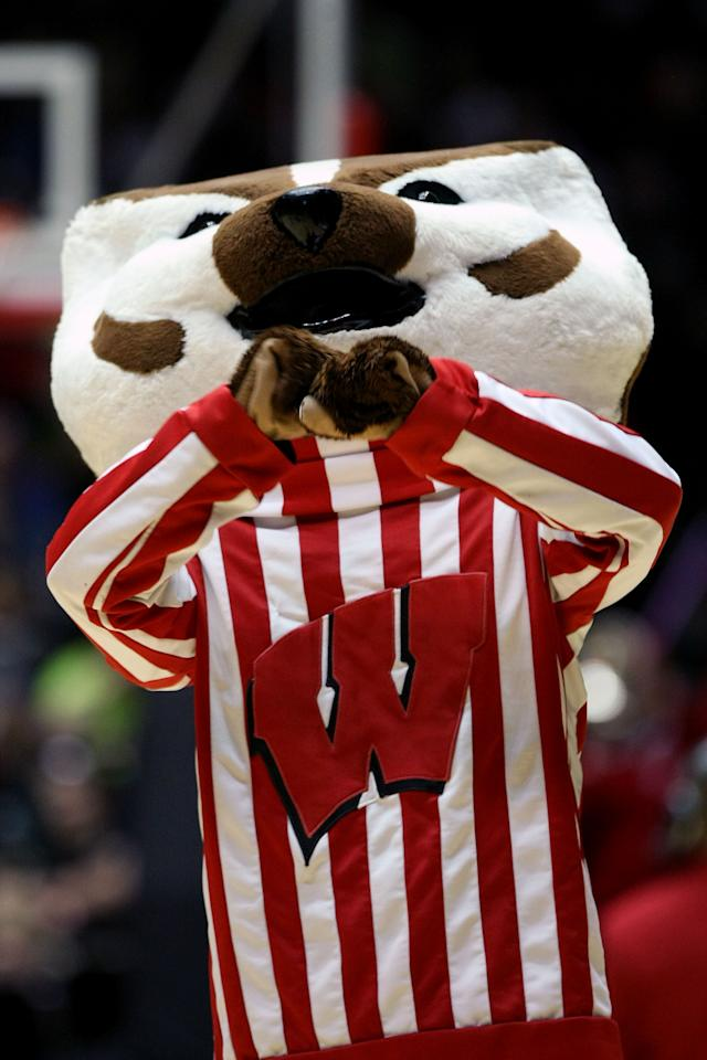 ALBUQUERQUE, NM - MARCH 17:  The Wisconsin Badgers mascot 'Bucky Badger' cheers in the second half of the game against the Vanderbilt Commodores during the third round of the 2012 NCAA Men's Basketball Tournament at The Pit on March 17, 2012 in Albuquerque, New Mexico.  Wisconsin won 60-57. (Photo by Christian Petersen/Getty Images)