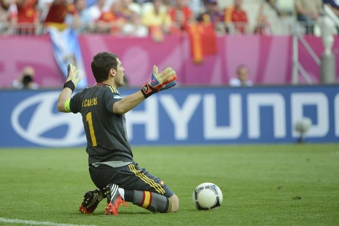 Spanish goalkeeper Iker Casillas reacts during the Euro 2012 championships football match Spain vs Italy on June 10, 2012 at the Gdansk Arena.     AFP PHOTO / PIERRE-PHILIPPE MARCOUPIERRE-PHILIPPE MARCOU/AFP/GettyImages