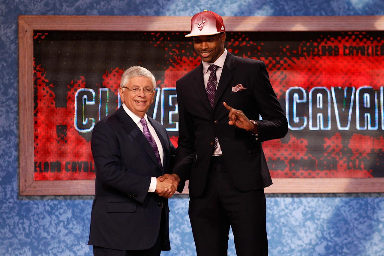 NEWARK, NJ - JUNE 23:  Tristan Thompson from the University of Texas greets NBA Commissioner David Stern after he was drafted #4 overall by the Cleveland Cavaliers in the first round during the 2011 NBA Draft at the Prudential Center on June 23, 2011 in Newark, New Jersey.  NOTE TO USER: User expressly acknowledges and agrees that, by downloading and/or using this Photograph, user is consenting to the terms and conditions of the Getty Images License Agreement.  (Photo by Mike Stobe/Getty Images)