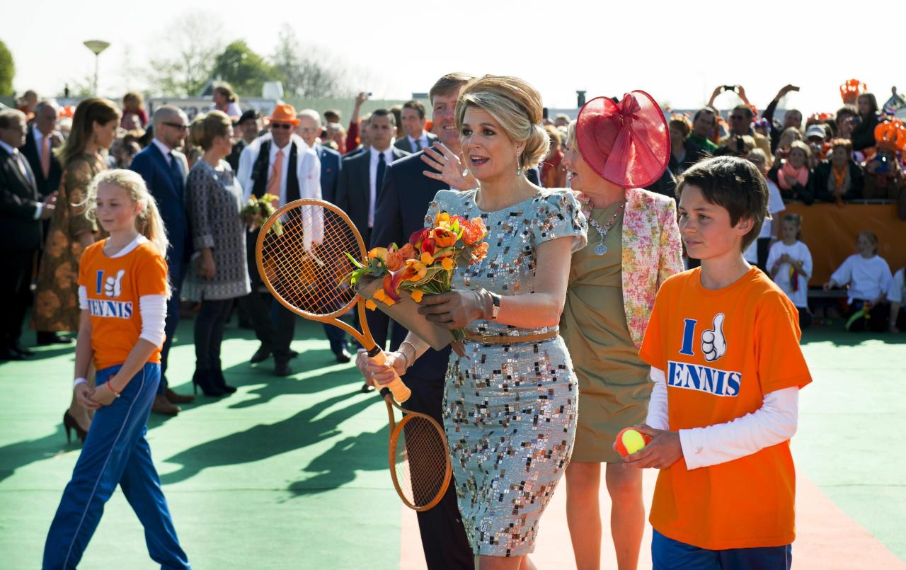 "Queen Maxima of the Netherlands plays tennis during the first King's Day in De Rijp April 26, 2014. The Dutch are celebrating their first ever ""King's Day"", a national holiday held in honour of the Netherlands' newly installed monarch, King Willem-Alexander. REUTERS/Frank van Beek/Pool (NETHERLANDS - Tags: ROYALS ENTERTAINMENT POLITICS SOCIETY)"