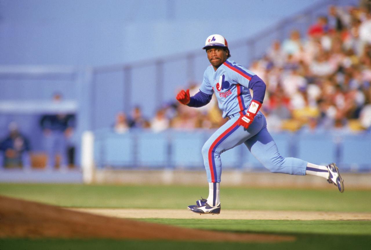 1987: Tim Raines #30 of the Montreal Expos sprints to a second base during a 1987 season game. Tim Raines played for the Montreal Expos from 1979-1990. (Photo by: Andrew D. Bernstein/Getty Images)