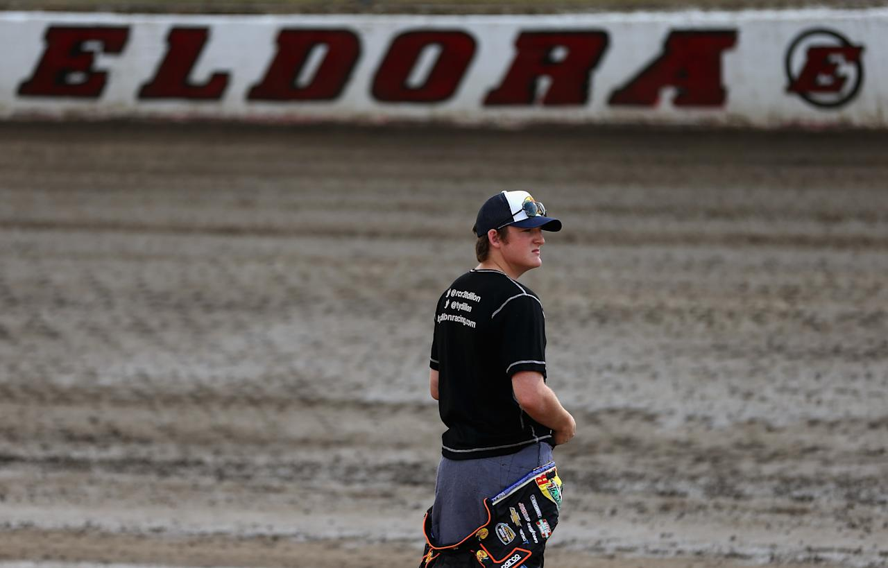 ROSSBURG, OH - JULY 23: Ty Dillon, driver of the #3 Bass Pro Shops/Tracker Boats Chevrolet, looks over the track before practice for the NASCAR Camping World Truck Series inaugural Mudsummer Classic at Eldora Speedway on July 23, 2013 in Rossburg, Ohio. (Photo by Tom Pennington/Getty Images)