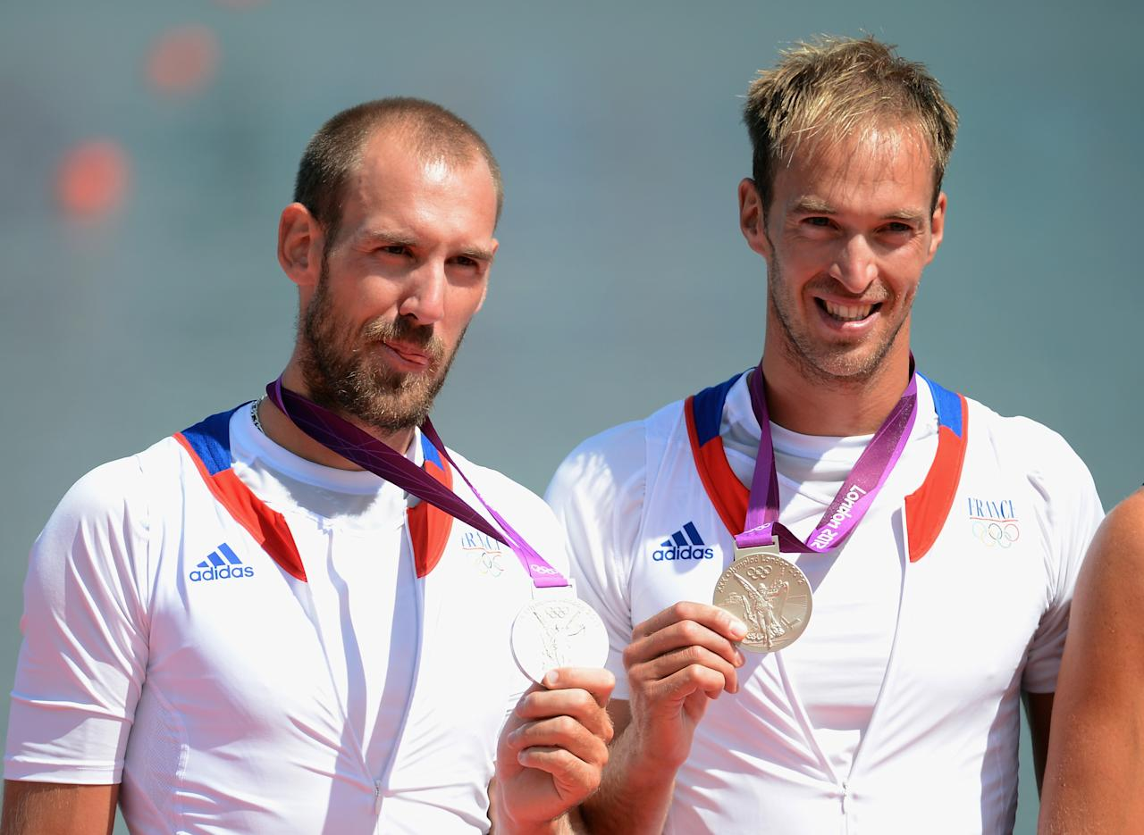 WINDSOR, ENGLAND - AUGUST 03:  Silver medalists Dorian Mortelette and Germain Chardin of France pose with their medals during the medal ceremony for the Men's Pair final on Day 7 of the London 2012 Olympic Games at Eton Dorney on August 3, 2012 in Windsor, England.  (Photo by Harry How/Getty Images)