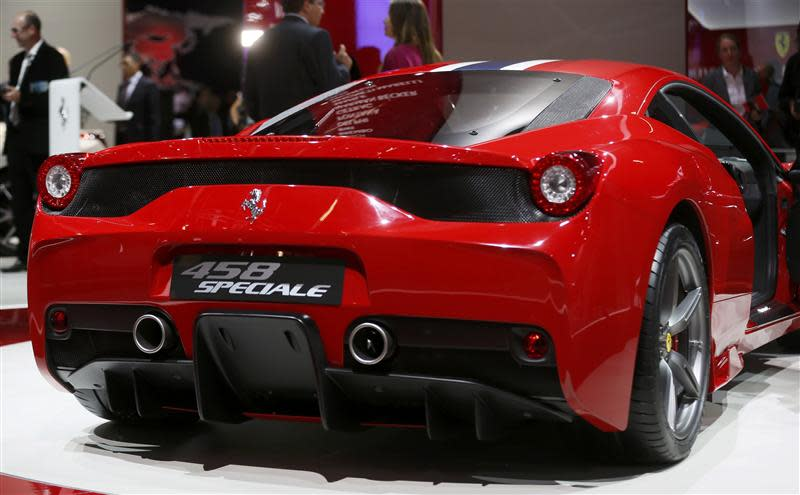 A Ferrari 458 Speciale car is pictured during a media preview day at the Frankfurt Motor Show