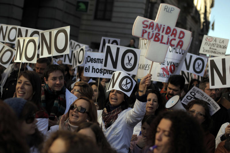 Thousands protest Spain's health care austerity