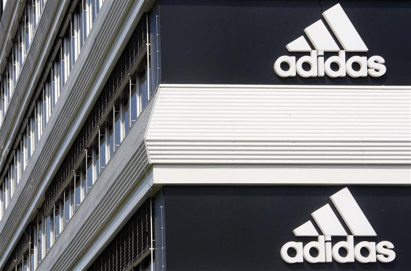Adidias logos are seen on the company's building in Landersheim near Strasbourg