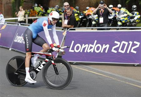 Canada's Ryder Hesjedal competes in the men's cycling individual time trial at the London 2012 Olympic Games