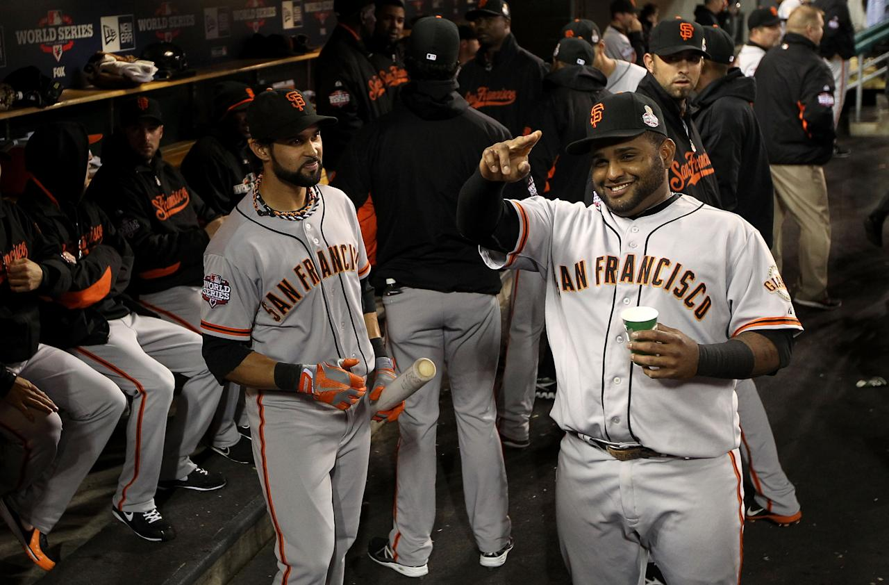 DETROIT, MI - OCTOBER 27:  Pablo Sandoval #48 of the San Francisco Giants jokes around in the dugout prior to Game Three of the Major League Baseball World Series against the Detroit Tigers at Comerica Park on October 27, 2012 in Detroit, Michigan.  (Photo by Ezra Shaw/Getty Images)
