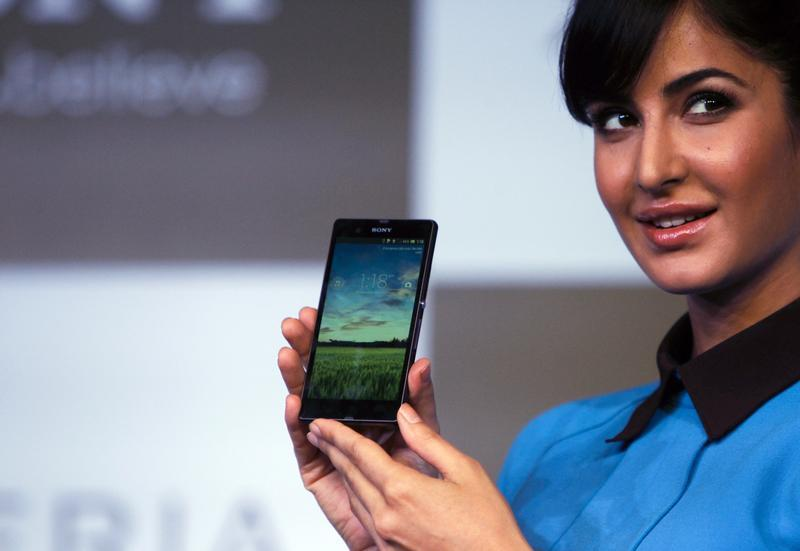 Bollywood actress Kaif displays the Sony Xperia Z high-end smartphone in New Delhi