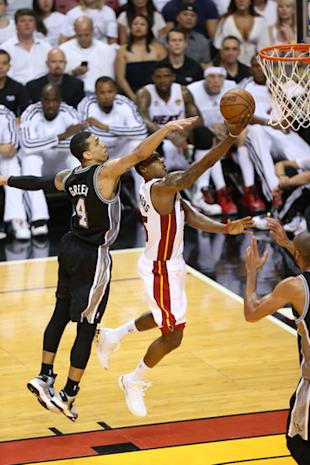 Mario Chalmers led the Heat with 19 points in Game 2 of the NBA Finals. (Getty Images)
