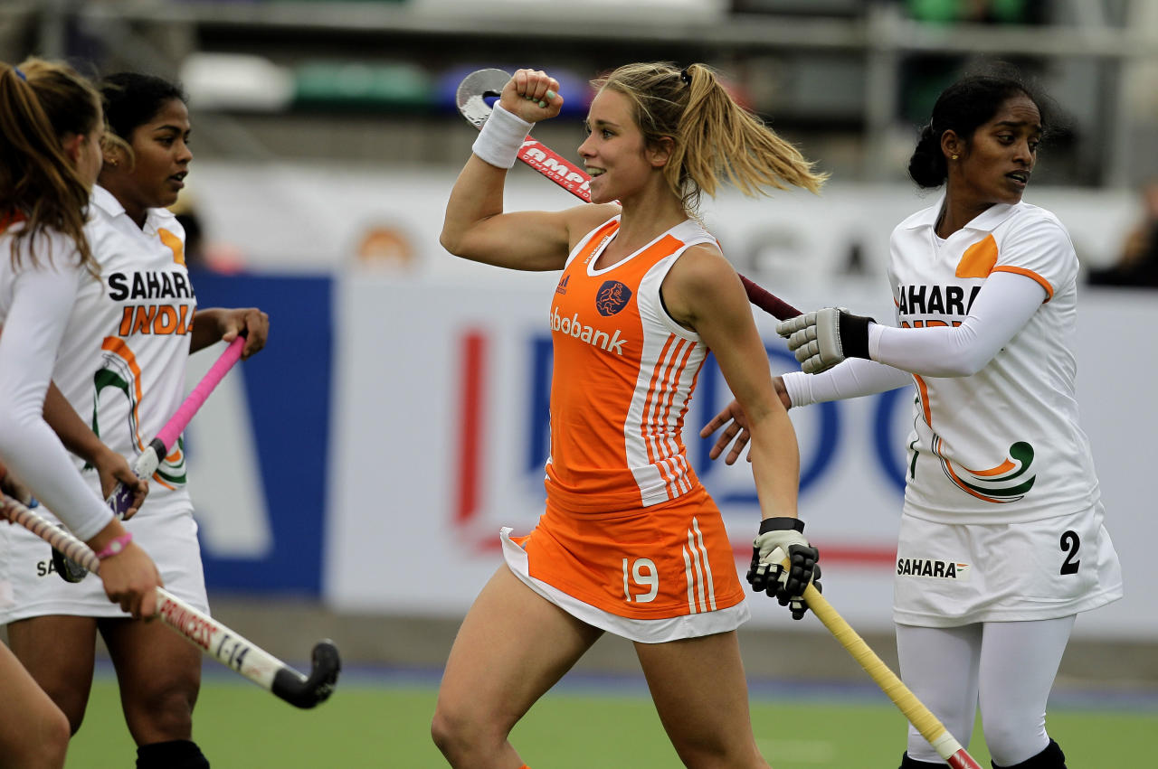 Netherlands' Ellen Hoog celebrates scoring her team's second goal against India at a Women's Hockey World Cup match in Rosario, Argentina, Monday Aug. 30, 2010.  (AP Photo/Eduardo Di Baia)
