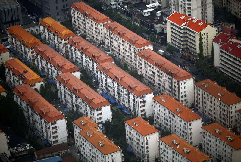 Apartment buildings are seen in a residential area at Pudong district in Shanghai