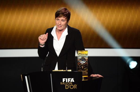 US forward Abby Wambach receives the FIFA Women's World Player of the Year award during the FIFA Ballon d'Or awards ceremony at the Kongresshaus in Zurich on January 7, 2013. AFP PHOTO / OLIVIER MORIN (Photo credit should read OLIVIER MORIN/AFP/Getty Images)