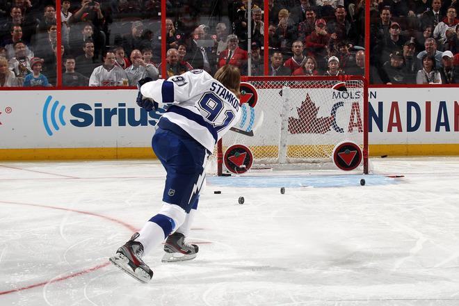 OTTAWA, ON - JANUARY 28:  Steven Stamkos #91 of the Tampa Bay Lightning and team Alfredsson takes a shot during the Canadian Tire NHL Accuracy Shooting part of the 2012 Molson Canadian NHL All-Star Skills Competition at Scotiabank Place on January 28, 2012 in Ottawa, Ontario, Canada.  (Photo by Bruce Bennett/Getty Images)
