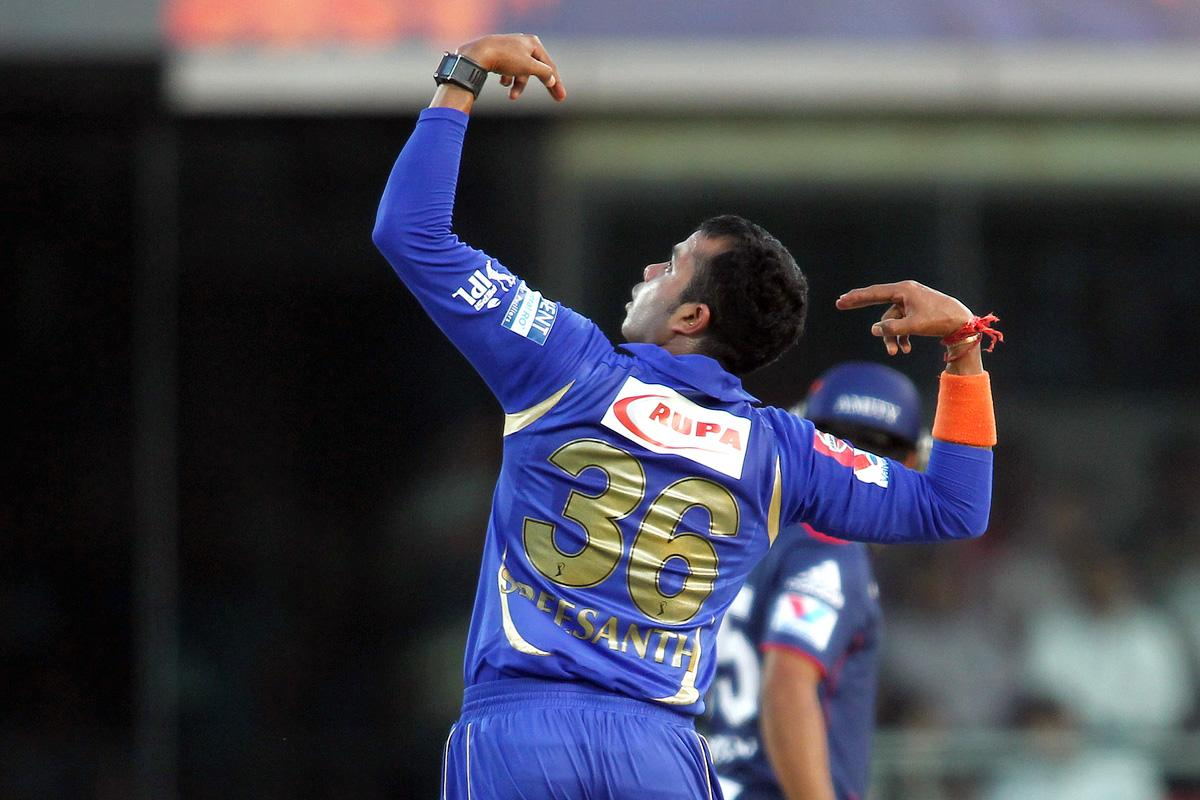 Sree Sreesanth of Rajasthan Royals celebrates after bowling Unmukt Chand of Delhi Daredevils during match 4 of the Pepsi Indian Premier League between Delhi Daredevils and the Rajasthan Royals held at the Feroz Shah Kotla Stadium, Delhi on the 6th April 2013..Photo by Shaun Roy-IPL-SPORTZPICS ..Use of this image is subject to the terms and conditions as outlined by the BCCI. These terms can be found by following this link:..http://www.sportzpics.co.za/image/I0000SoRagM2cIEc
