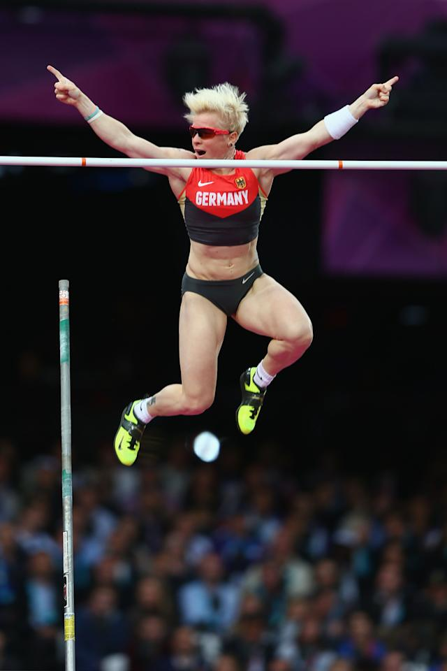 Martina Strutz of Germany reacts after clearing the bar in the Women's Pole Vault final on Day 10 of the London 2012 Olympic Games at the Olympic Stadium on August 6, 2012 in London, England.  (Photo by Michael Steele/Getty Images)