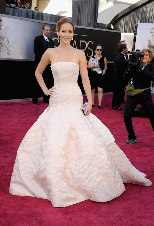 Jennifer Lawrence arrives at the Oscars at Hollywood & Highland Center on February 24, 2013 in Hollywood, California.  (Photo by Steve Granitz/WireImage)