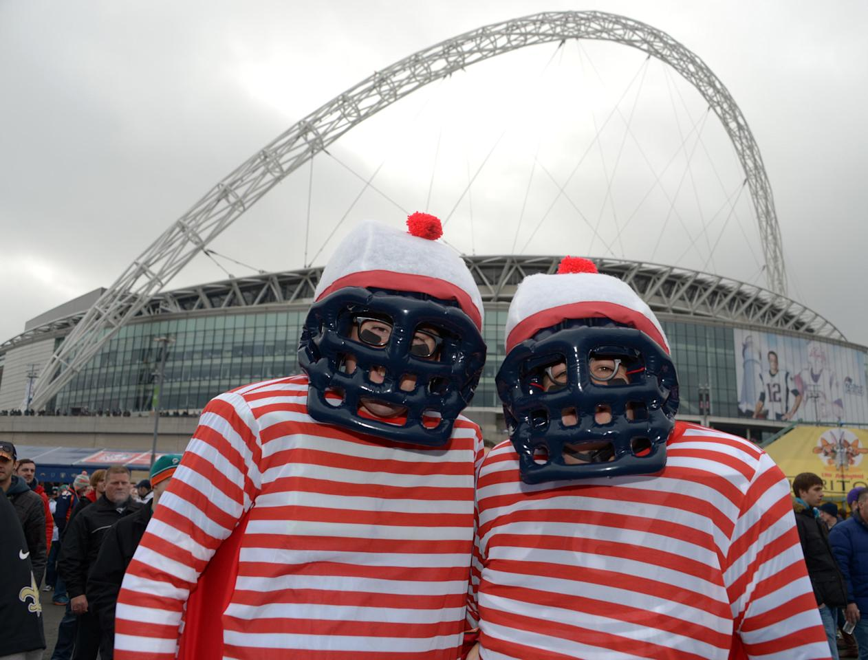 Oct 28,2012; London, UNITED KINGDOM; NFL fans Richard Hinds (left) and Dean Kingham pose during tailgate festivities before the 2012 NFL International Series game between the New England Patriots and St. Louis Rams at Wembley Stadium. Mandatory Credit: Kirby Lee/Image of Sport-US PRESSWIRE