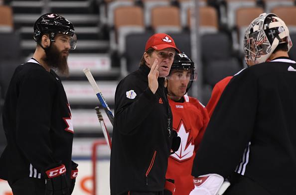 TORONTO, ON - SEPTEMBER 26: Head Coach Mike Babcock gives instructions to Carey Price #31 of Team Canada during the World Cup of Hockey 2016 practice sessions at Air Canada Centre on September 26, 2016 in Toronto, Ontario, Canada. (Photo by Minas Panagiotakis/World Cup of Hockey via Getty Images)