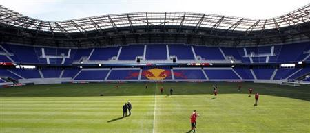 Members of the Major League Soccer club New York Red Bulls practice in the new Red Bulls Arena in Harrison, New Jersey