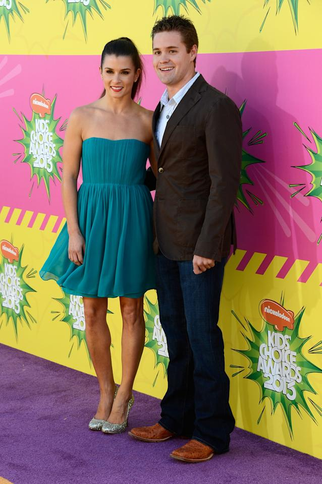 LOS ANGELES, CA - MARCH 23:  NASCAR drivers Danica Patrick (L) and Ricky Stenhouse Jr. arrive at Nickelodeon's 26th Annual Kids' Choice Awards at USC Galen Center on March 23, 2013 in Los Angeles, California.  (Photo by Frazer Harrison/Getty Images)