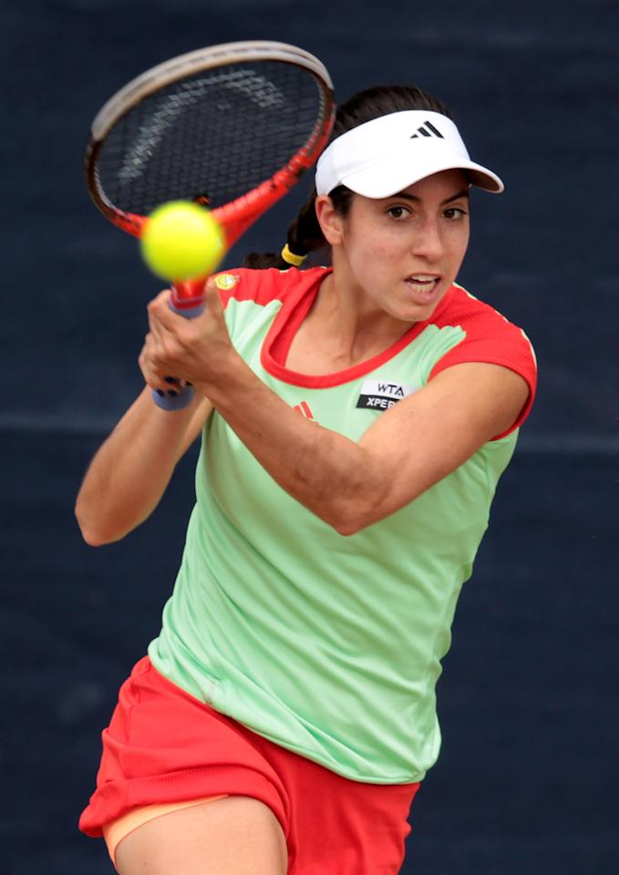 BIRMINGHAM, ENGLAND - JUNE 13:  Christina McHale of the USA in action during day three of the AEGON Classic at Edgbaston Priory Club on June 13, 2012 in Birmingham, England.  (Photo by Ross Kinnaird/Getty Images)
