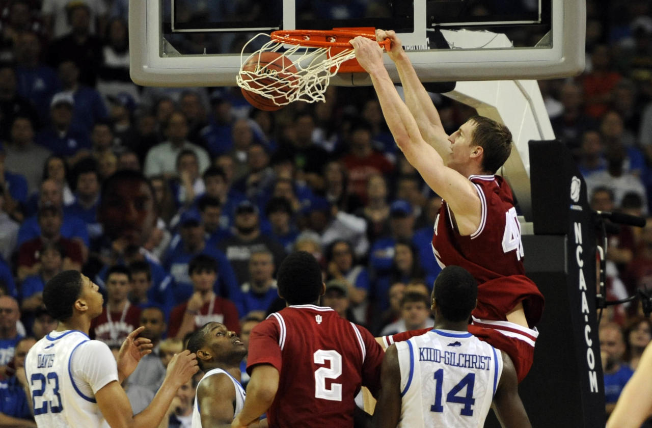 Mar 23, 2012; Atlanta, GA, USA; Indiana Hoosiers forward Cody Zeller (40) dunks the ball against the Kentucky Wildcats in the second half during the semifinals of the south region of the 2012 NCAA men's basketball tournament at the Georgia Dome.  Mandatory Credit: Richard Mackson-US PRESSWIRE