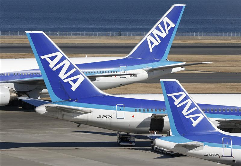ANA's planes are seen at Haneda airport in Tokyo