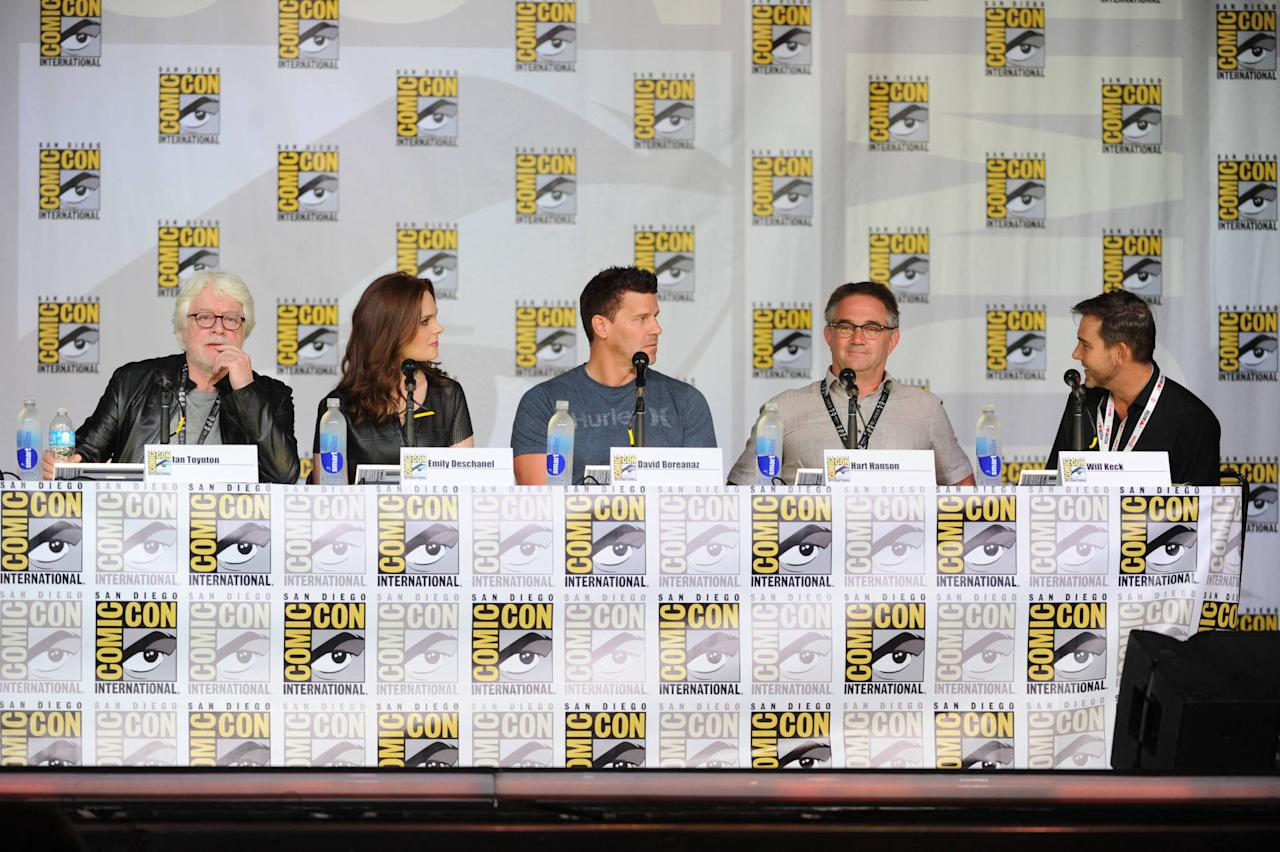 "David Boreanaz and Emily Deschanel and Creator and Executive Producer Hart Hanson and Executive Producer Ian Toynton and panel moderator Will Keck at the ""Bones"" panel on Friday, July 19 during Fox Fanfare at San Diego Comic-Con 2013."