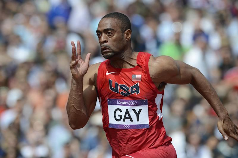 Tyson Gay competing in the men's 100m heats at the London 2012 Olympic Games in London (file photo)