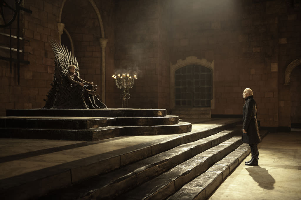 "Jack Gleeson and Charles Dance in the ""Game of Thrones"" Season 3 episode, ""The Bear and the Maiden Fair."""