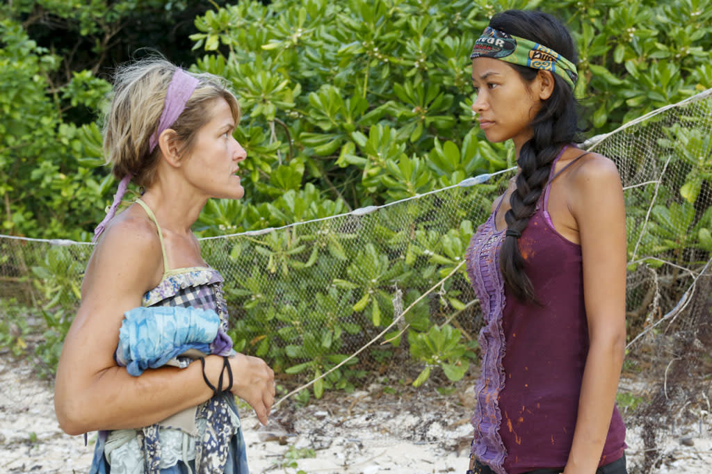 """Come Over to the Dark Side"" - Dawn Meehan and Brenda Lowe during the Eleventh episode of ""Survivor: Caramoan - Fans vs. Favorites."""