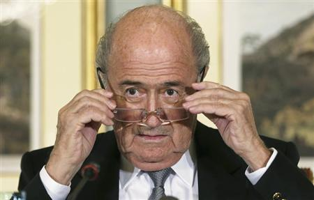 FIFA President Sepp Blatter at a news conference in Doha