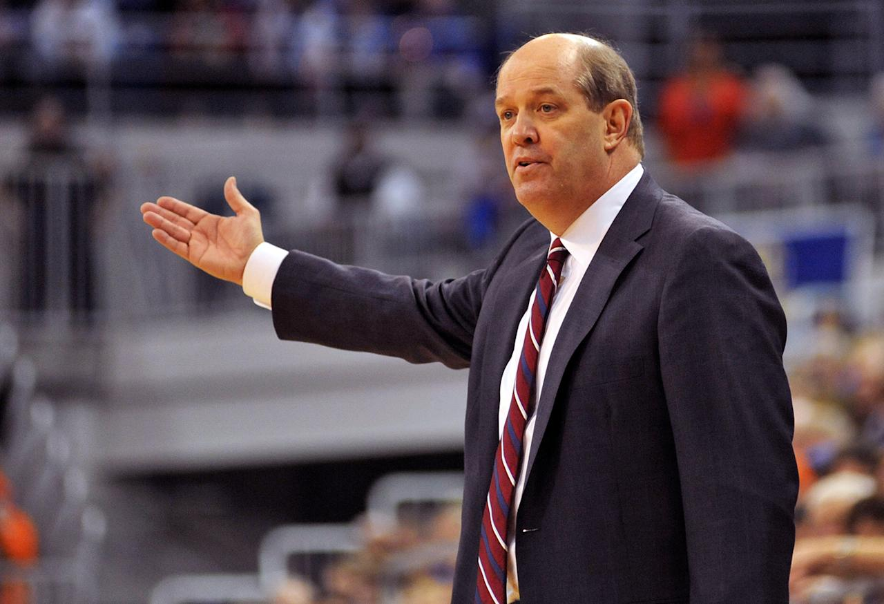 Coach Kevin Stallings of the Vanderbilt Commodores directs play against the Florida Gators March 6, 2013 at Stephen C. O'Connell Center in Gainesville, Florida.  (Photo by Al Messerschmidt/Getty Images)