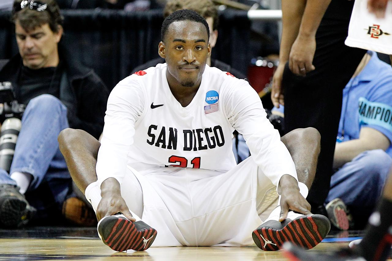 COLUMBUS, OH - MARCH 16:  Jamaal Franklin #21 of the San Diego State Aztecs sits on the floor after being called for a foul against the North Carolina State Wolfpack in the second half during the second round of the 2012 NCAA Men's Basketball Tournament at Nationwide Arena on March 16, 2012 in Columbus, Ohio.  (Photo by Rob Carr/Getty Images)