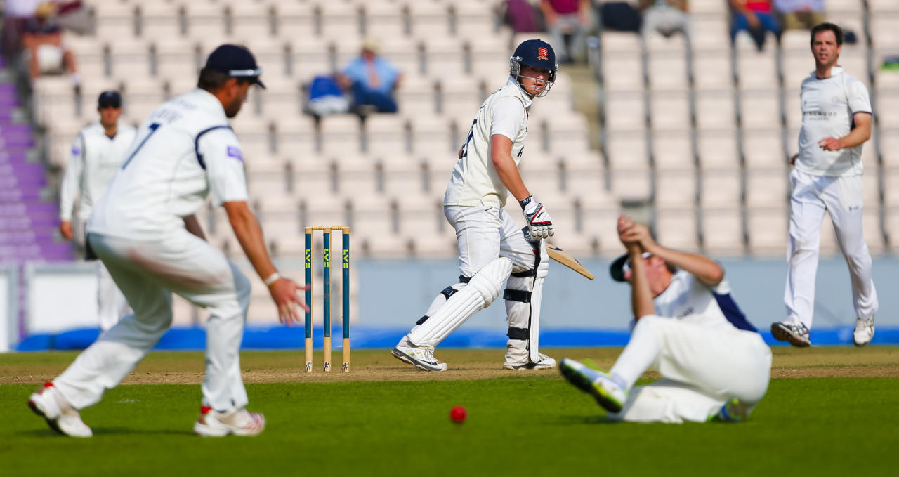 Essex batsman Tom Westley is dropped in the slips by Hampshire fielder Liam Dawson during the LV= County Championship Division Two match at The Ageas Bowl, Southampton.