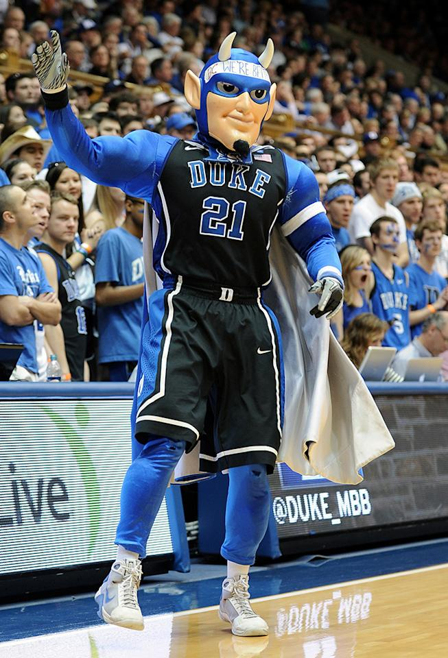 The mascot of the Duke Blue Devils performs during a game against the Boston College Eagles at Cameron Indoor Stadium on February 24, 2013 in Durham, North Carolina. Duke defeated Boston College 89-68. (Photo by Lance King/Getty Images)