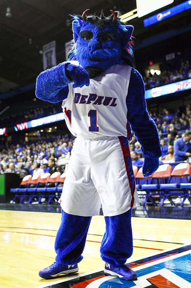 The DePaul Blue Demons mascot seen on the court during the game against the Connecticut Huskies at Allstate Arena on February 23, 2013 in Rosemont, Illinois. (Photo by Michael Hickey/Getty Images)