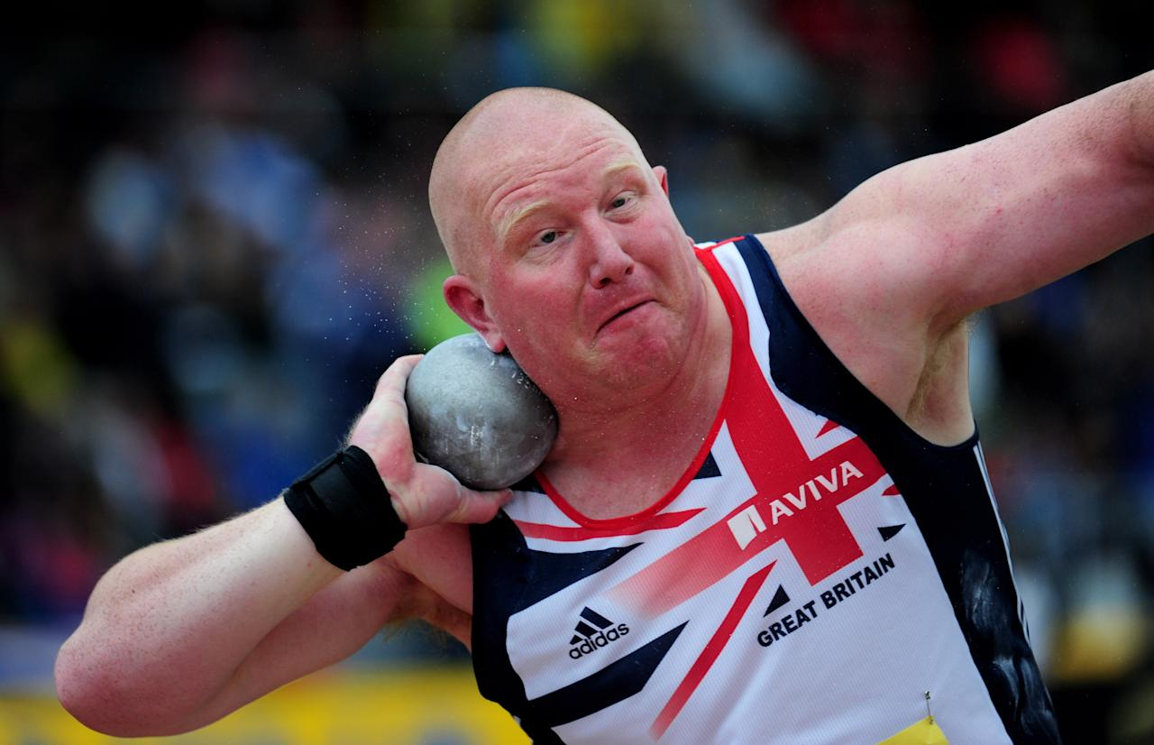 BIRMINGHAM, ENGLAND - JUNE 24:  Greg Beard of Great Britain competes in the Men's Shot Put Final during day three of the Aviva 2012 UK Olympic Trials and Championship at Alexander Stadium on June 24, 2012 in Birmingham, England.  (Photo by Stu Forster/Getty Images)