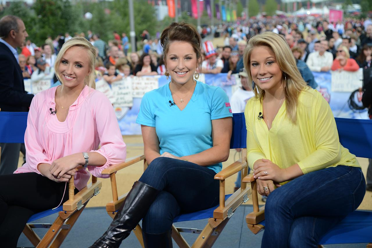 Pictured: (L-R) Nastia Liukin, Carly Patterson, Shawn Johnson during the 2012 Summer Olympic Games on July 31, 2012 in London, England. (Photo by: Dave Hogan/NBC/NBCU Photo Bank via Getty Images)