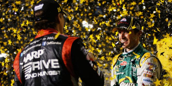 Jeff Gordon celebrates his Chase berth with teammate and fellow wild card Kasey Kahne. (Getty Images)