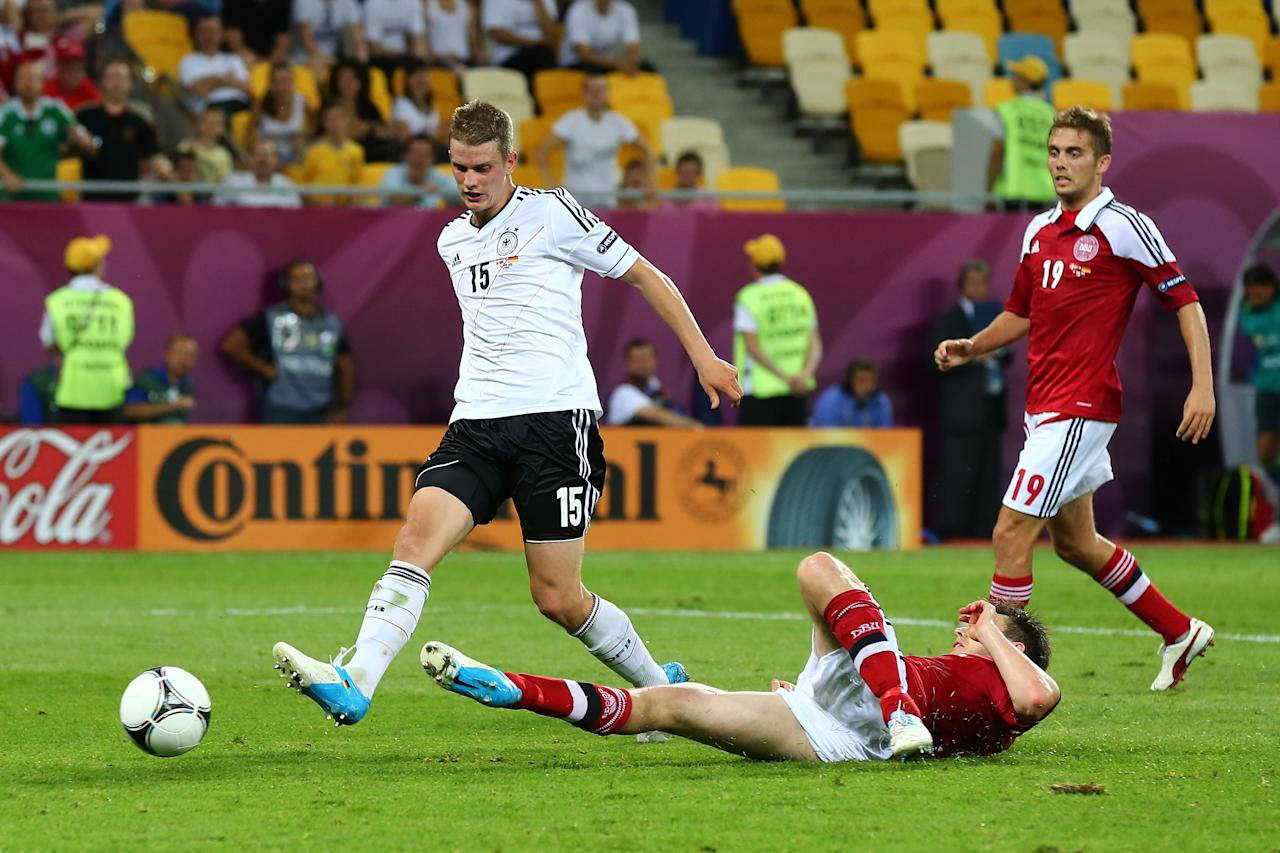 L'VIV, UKRAINE - JUNE 17:  Lars Bender of Germany scores their second goal during the UEFA EURO 2012 group B match between Denmark and Germany at Arena Lviv on June 17, 2012 in L'viv, Ukraine.  (Photo by Martin Rose/Getty Images)