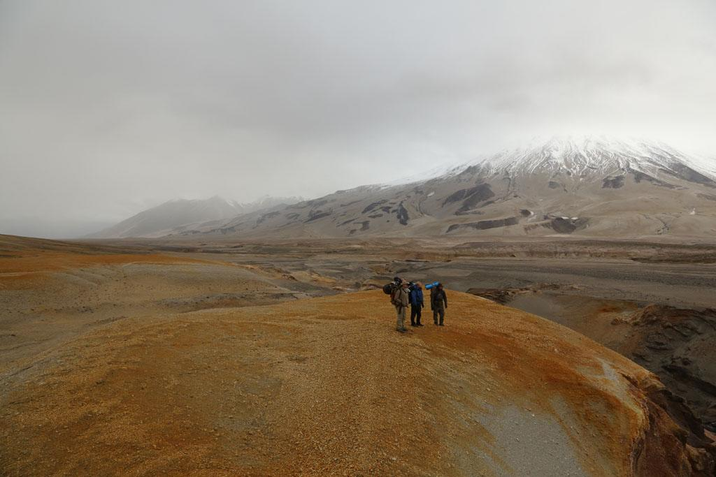 Katmai National Park and Preserve, Alaska, USA: Marty Raney, Tyler Johnson and Matt Raney walking through Katmai National Park.
