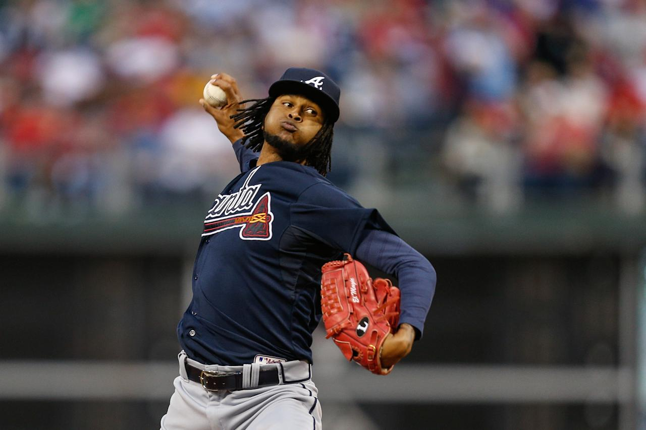 PHILADELPHIA, PA - APRIL 14: Starting pitcher Ervin Santana #30 of the Atlanta Braves throws a pitch in the first inning of the game against the Philadelphia Phillies at Citizens Bank Park on April 14, 2014 in Philadelphia, Pennsylvania. (Photo by Brian Garfinkel/Getty Images)